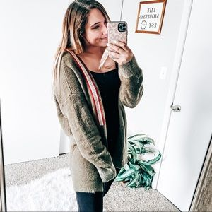 POL olive green cardigan sweater